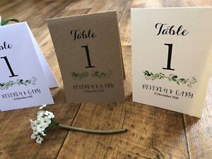 Personalised Table Number / Name Tent Cards - Wedding Botanical Green Leaves