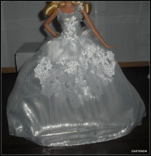 DRESS  MATTEL BARBIE DOLL SILVER  HOLIDAY 2013 MODEL MUSE EVENING GOWN CLOTHING