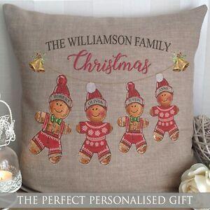 CHRISTMAS GIFT PERSONALISED CUSHION GINGERBREAD MAN FAMILY XMAS