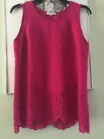 Katherine Barclay Laser Cut Sleeveless Top Blouse Large Red Size S