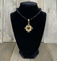 Necklace Dauplaise Pendant Beaded Black Glass Choker Byzantine Style Vintage