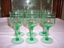 Set of 6 Vintage Franciscan 14188-2 Green Etched Water Goblets
