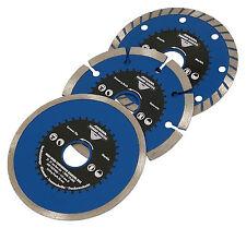 "3pc 4.5"" Diamond Saw Cutting Disc Blades - Segmented & Turbo"