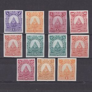 HONDURAS 1890, Sc# 40-50, Imperforated Proofs, NG