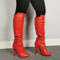 Womens Knee High Riding Boots Round Toe Heels Stilettos Nightclub Shoes Big Size
