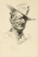 Self Portrait of Frederic Remington by Frederic Remington Giclee Repro Canvas