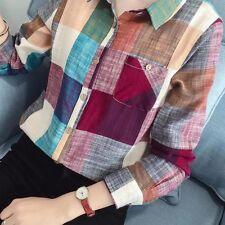 Women Casual Lapel Shirts Plaids Flannel Cotton OL Button Down Tops Blouse Tee