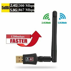 1200 Mbps USB WiFi Adapter Dual Band Wireless Network Laptop Desktop PC Antenna