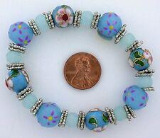 Glass Pewter Stretch Bead Bracelet ms2 Blue Pink White Floral Flower Lampwork