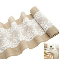 30x275cm Rustic Jute Shabby Lace Hessian Table Runner for Wedding Party