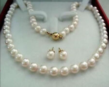 14k Gold Clasp 8-9mm AAA White Akoya Cultured Pearl Necklace Earring