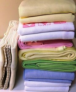 Embroidered Cotton Waffle Blanket - Available in Different Colors/Designs