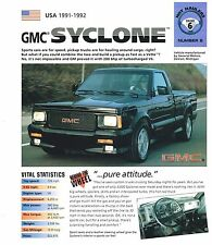 1991 / 1992 GMC SYCLONE Pick Up Truck SPEC SHEET / Brochure