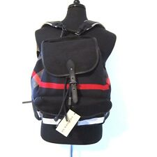 J-1541350 New Burberry Navy Red Plaid Canvas Bag Backpack