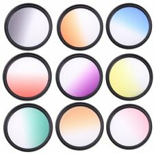 55mm Graduated Color Filter Grey Orange Blue Red Purple Yellow Green Brown Pink