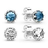 Crown Stud Earrings 925 Solid Sterling Silver in Clear or Blue Round Stones