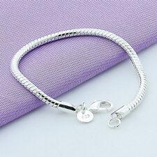 Women's Hot Silver Plated Charm Nake Chain Bracelet Bangle Fashion Jewelry 3mm