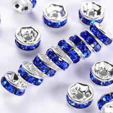 10 x 8mm Sapphire Rhinestone Brass Spacer Beads Blue