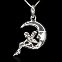 Angel Crescent Moon Necklace New 925 Sterling Silver Pendant Chain Charm Gift