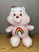 "Vintage 1983 Pink Cheer Care Bear Plush Stuffed Toy Animal Bear Rainbow 13"""