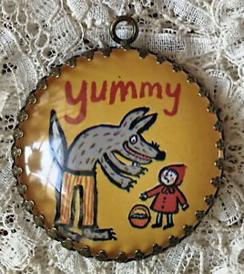 LITTLE RED  RIDING HOOD Glass Dome PENDANT Round XL Brass  Filigree FAIRY TALE