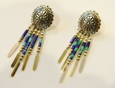 Q.T Quoc Turquoise Lapis sterling silver earrings navajo indian