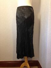 Aria long black satin/embroidered skirt size 12.