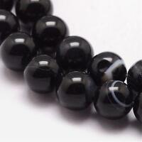 Natürliche Streifen Achat Perlen Rund Indische Schwarz Weiß 8mm Edelsteine G723
