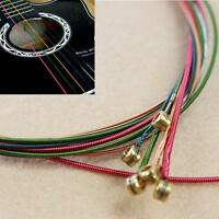 Strings NEW Set Musician Electric 6 Rainbow Color Gift for Acoustic Guitar MA