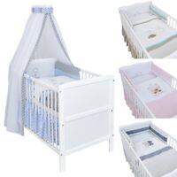 Babybett Kinderbett Weiß 140x70 Bettwäsche Bettset mit Motiv komplett