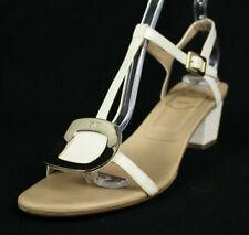 ROGER VIVIER Bone White Leather T-Strap Logo Vamp Mid-Heel Sandals 39.5