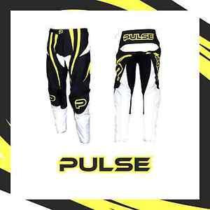 PULSE MOTOCROSS MX BMX MTB PANTS - TSUNAMI YELLOW + FREE SOCKS WORTH £9.99
