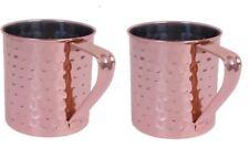 2 x rame Mule Tazza martellato effetto Gift Set, base 10 cm