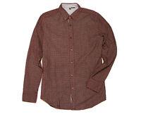 BENETTON Stile Printed Burgundy Corduroy Button-Front Long Sleeved Shirt Sz: M