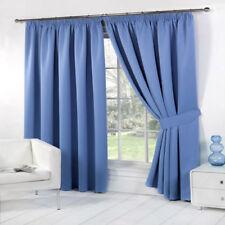 Cortinas y visillos color principal azul de cocina de poliéster