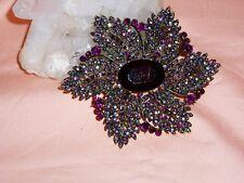 EXQUISITE JOAN RIVERS Brooch w/ Aurora Borealis Crystals & Black Stones NIB SALE