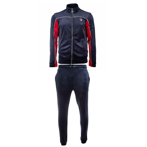 Fila Men's Velour Heather sweat suit tracksuit Navy and Red New Sizes M L XL 2XL