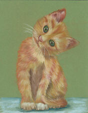 Boots print reproduction pastel cat kitten  8 x 10 on linen card stock
