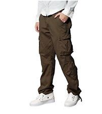 "Men's Retro Cargo Trousers Chinos Trousers W38"" Long High Quality BROWN RRP £38"