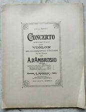 D'AMBROSIO concerto pour violon : partition violon et piano