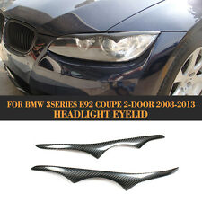 2PCS Carbon Fiber Headlight Eyelid Eyebrow Cover Fit for BMW E92 M3 Coupe 08-11
