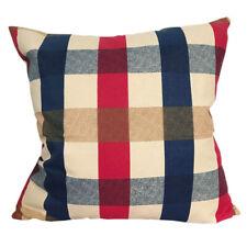 CURCYA Canvas Cotton Cushion Cover Mediterranean Style Plaid Throw Pillow Cases