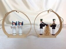 2 Erzgebirge German Hoop Ornaments Angels Musicians Stille Nacht Spanbaum
