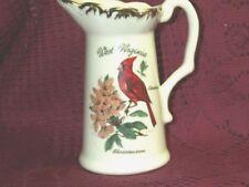 Vintage Usa West Virginia Cardinal Rhododendron Vase Creamer Pitcher Gold Trim