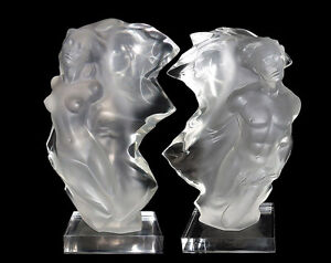 Frederick Hart Acrylic Sculpture DUET PAIR Nude Figurative Lucite Signed Artwork