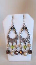 Silver Tone Dangle Assorted Glass And Faux Crystals Pierced Earrings #Y
