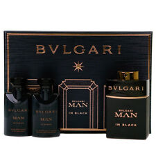NEW Bvlgari Man In Black 60ml Eau De Parfum Gift Set With Aftershave Balm