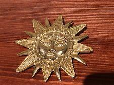 "Sun sunshine Face Brooch 2.5"" Gold tone welcome retro 80s"