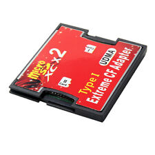 2 Port TF SD SDHC SDXC Memory Card Adapter to CF Type I Card Compact Flash - Red