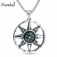 MENDEL Vintage Mens Working Nautical Compass Necklace Pendant Stainless Steel